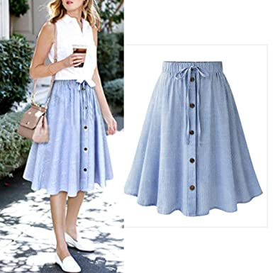 85949182a8 TOPUNDER Stripe Single-Breasted Lace High Waist Plain Skater Flared Skirt  For Women at Amazon Women's Clothing store: