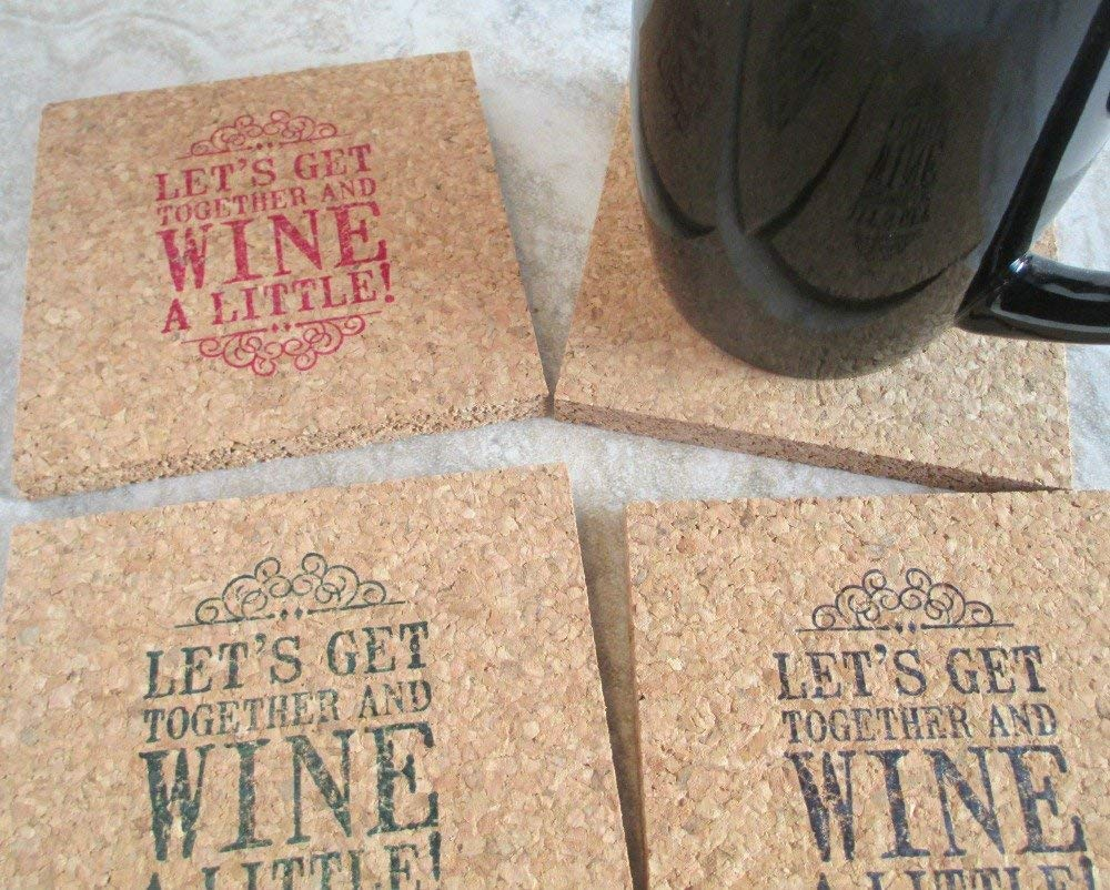 gift suggestion natural cork coasters set of 4 handstamped thick cork coasters Wine design coasters