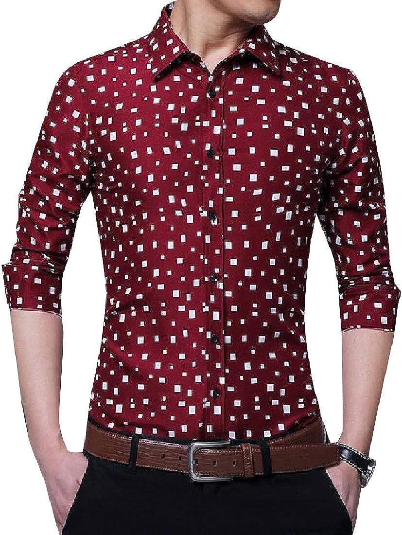 YUNY Mens No Iron Polka Dot Regular Floral Print Casual Leisure Shirt Wine Red L