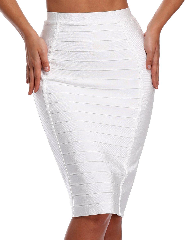 Hego Women's Stripe Wear to Work Bandage Bodycon Midi Skirts H1863 (M, White)