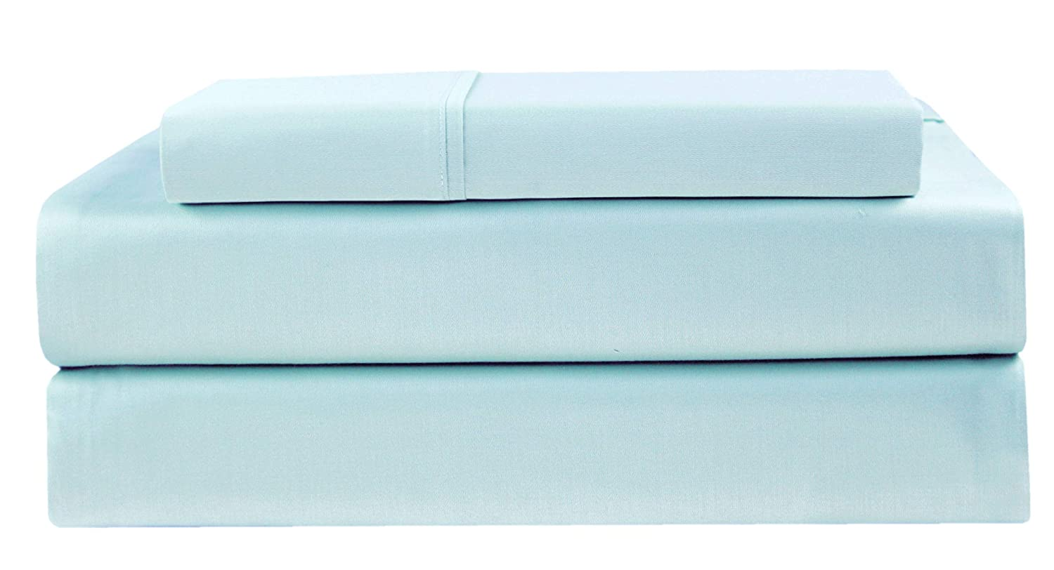 COTTON CRAFT - Ultra-Soft 400-Thread-Count Twin Size Sheet Set in Light Blue, Premium 100% Pure Combed Cotton, 3-Piece Sateen Bedding Set with 1 Deep-Pocket Fitted Sheet, 1 Flat Sheet & 1 Pillowcase