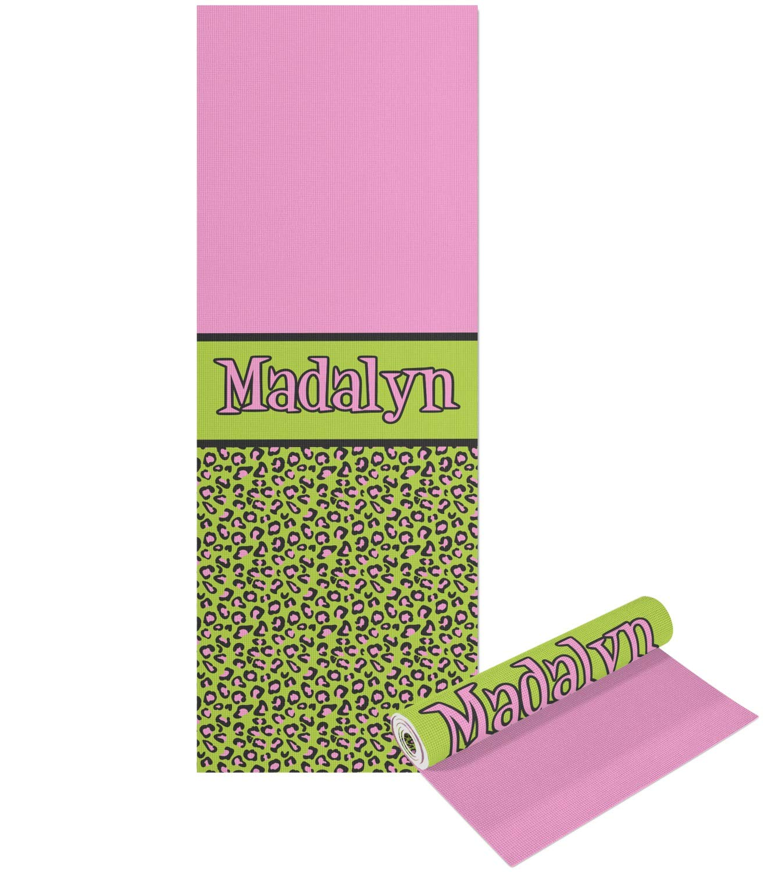 ピンク&ライムグリーンLeopardヨガマット – 印刷可能なフロントとバック( Personalized ) Double Sided  B0764XX47L