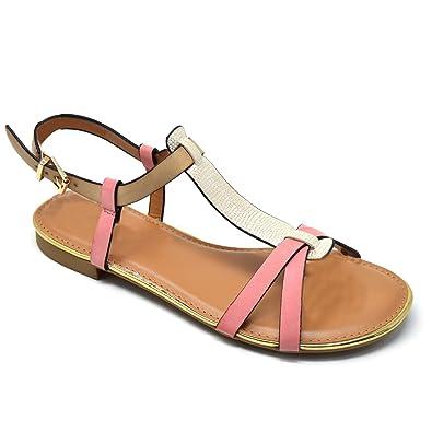 Womens Pink Peep Toe Buckle Low Wedge Sandals Mid Heels Summer Shoes Sizes 3-8