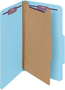 """Smead Pressboard Classification File Folder with SafeSHIELD Fasteners, 1 Divider, 2"""" Expansion, Legal Size, Blue, 10 per Box (18730)"""