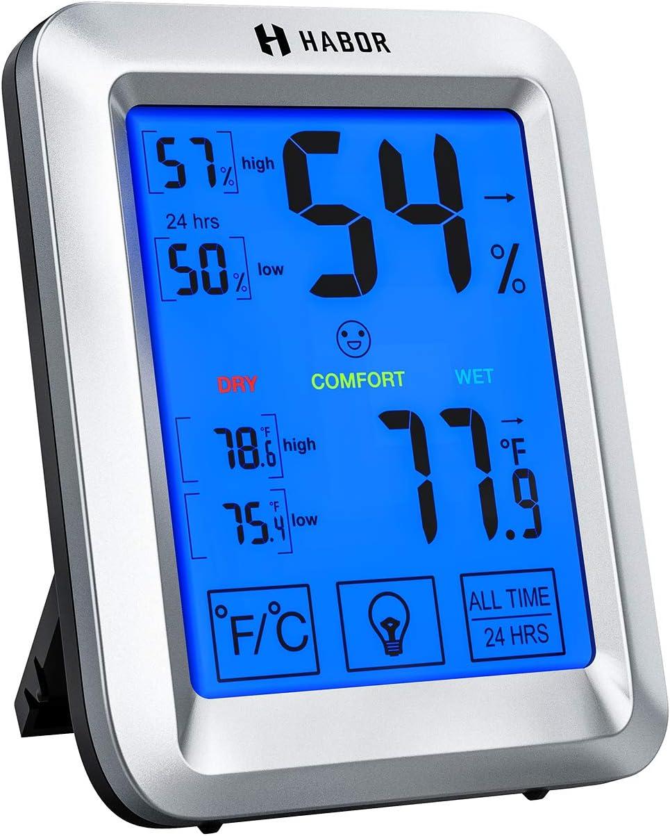 Habor Hygrometer with Jumbo Touchscreen & Backlight