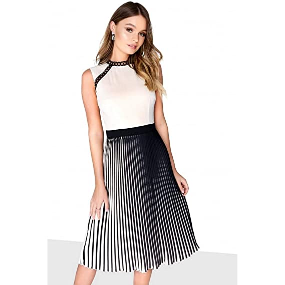 Little Mistress Womens Ladies Mock Neck Midi Dress (14 UK) (Black Cream)   Amazon.co.uk  Clothing 5e41accfa