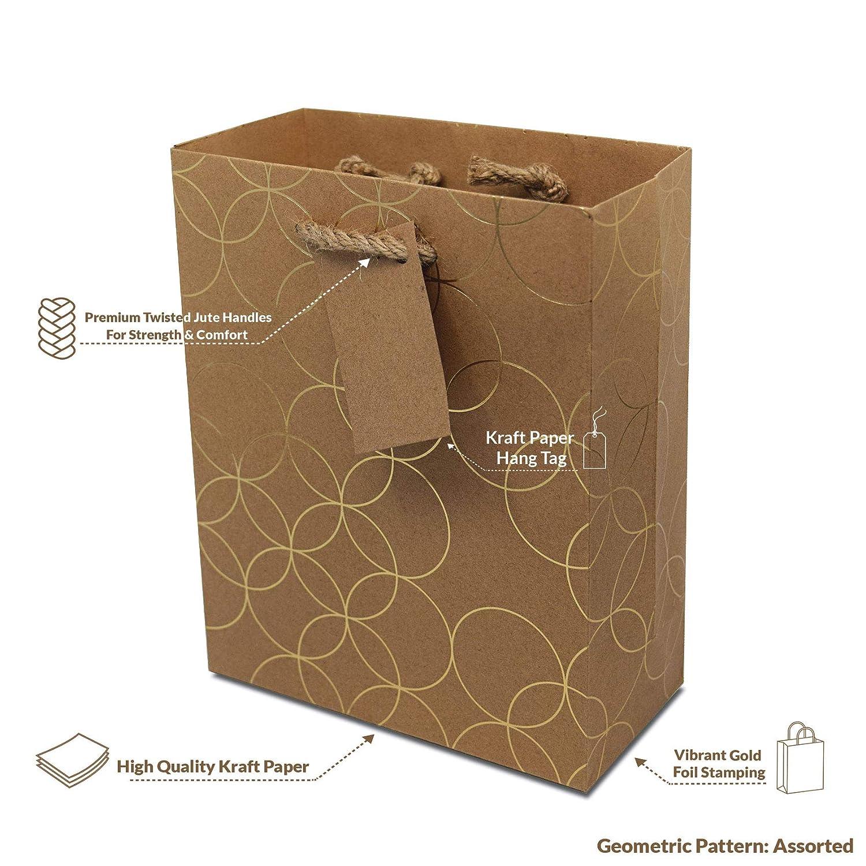 Amazon.com: 12 bolsas de regalo de papel kraft geométrico ...