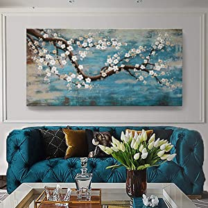 Huge Wall Art for Living Room 100% Hand-Painted Flower Oil Painting On Canvas Gallery Wrapped Floral Plum Blossom Artwork for Bedroom Office Decor One Panel 60x30inch Large