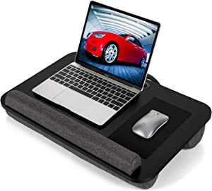 AMERIERGO Lap Desk - Fits Up to 17 Inch Laptop Lap Desk with Dual Cushion, Wrist Rest & Built-in Mouse Pad, Portable Laptop Stand for Sofa & Bed, Multifunctional Slot for Tablet, Pen & Phone