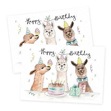 karte geburtstag 2er Set Glückwunschkarten zum Geburtstag, Alpaka, neutral, Junge