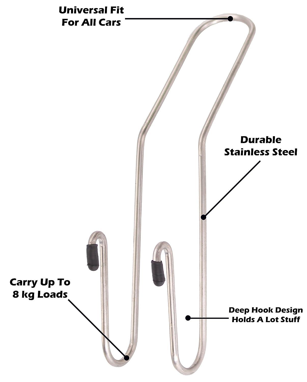 Ram-Pro Car Storage Hooks 2-Pack Mix N More Inc. Heavy Duty Back Storage Multi-Function Steel Hanger for Cloths Car Head Rest Hanger Dual Seat Back Hooks for Car Bags