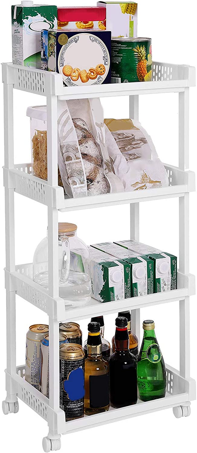 SONGMICS Rolling Trolley Storage Unit with 4 Shelves for Kitchen Bathroom Cellar 86 cm Height KSC04WT