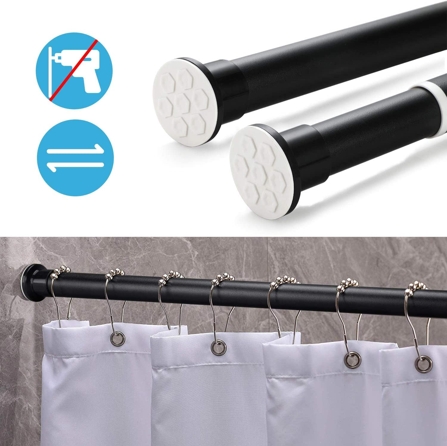 Superior Load Capacity Tension Rod for Kitchen and Curtain Kinlo Telescopic Shower Curtain Rod,310-360 cm no Drilling Required Matte Black Clamping rods Stainless Steel Curtain Rod