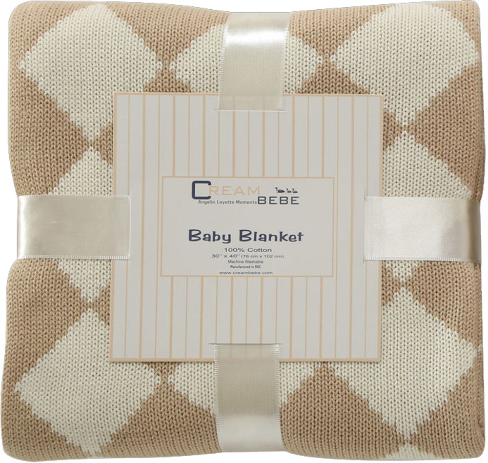 Elegant Knit Argyle Baby Blanket (Camel)