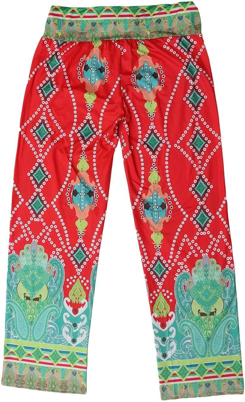 COMVIP Women Summer Beach Bohemian Cotton Long Wide Leg Palazzo Pant