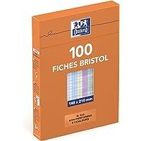 Oxford 21448 Fiche bristol oxford 224g 148x 210mm non perforée quadrillage 5x5mm Coloris Assortis 100 pièces