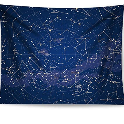 Wondrous Haocoo Constellation Tapestry Dark Blue Space Painting Wall Art Astrology Horoscope Stars Wall Hanging Tapestry Home Decor For Bedroom Living Room Beatyapartments Chair Design Images Beatyapartmentscom