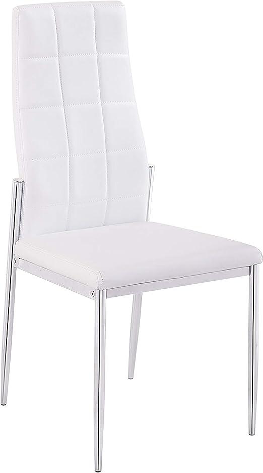 Adec - Silla Comedor tapizada símil Piel Color Blanco, Modelo Milano, Medidas: 102x47x55 cm de Fondo: Amazon.es: Hogar