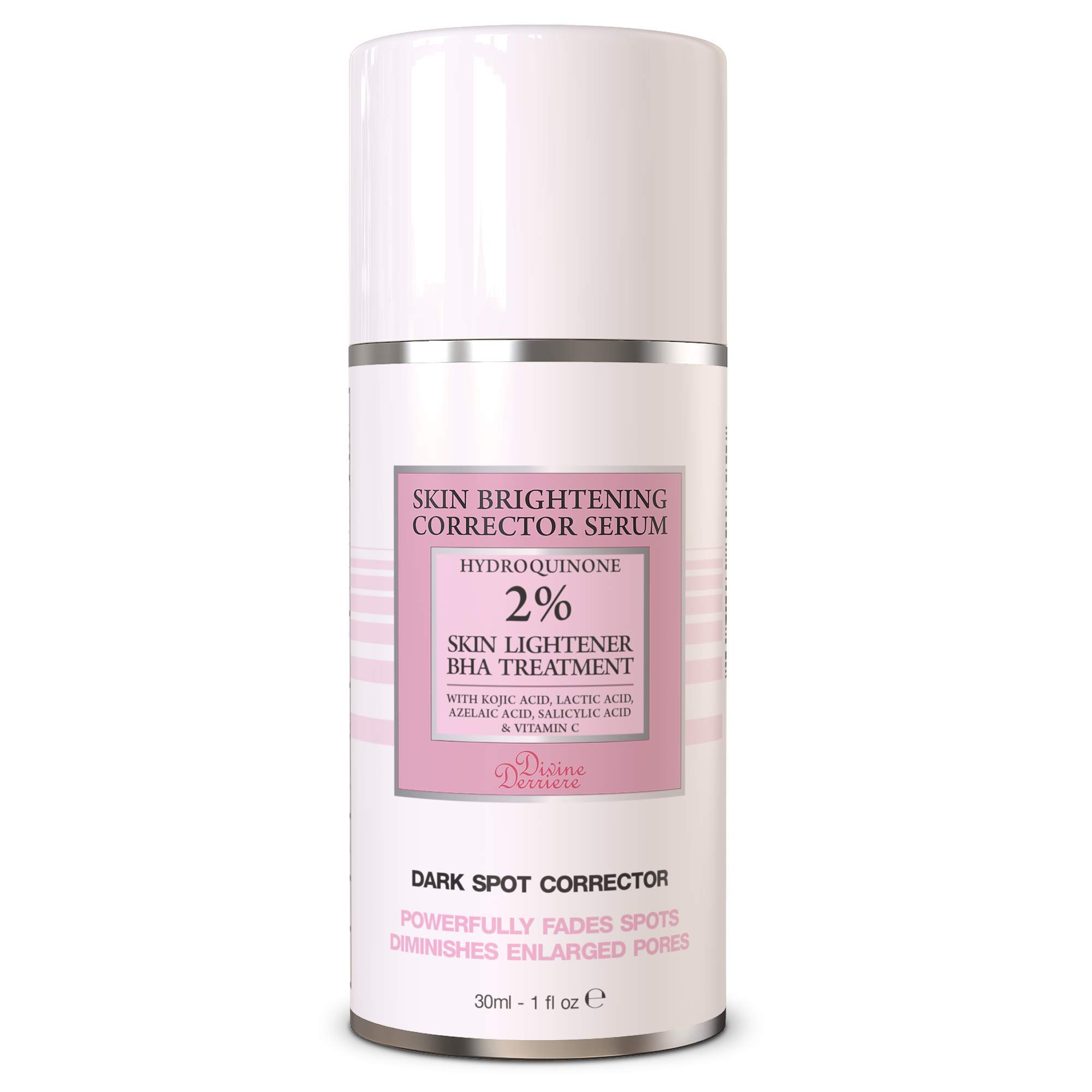 Divine Derriere Dark Spot Corrector Remover for Face Fade Cream with Kojic Acid, Vitamin C, Salicylic Acid, Azelaic Acid, Lactic Acid - Skin Brightening Serum (1oz)