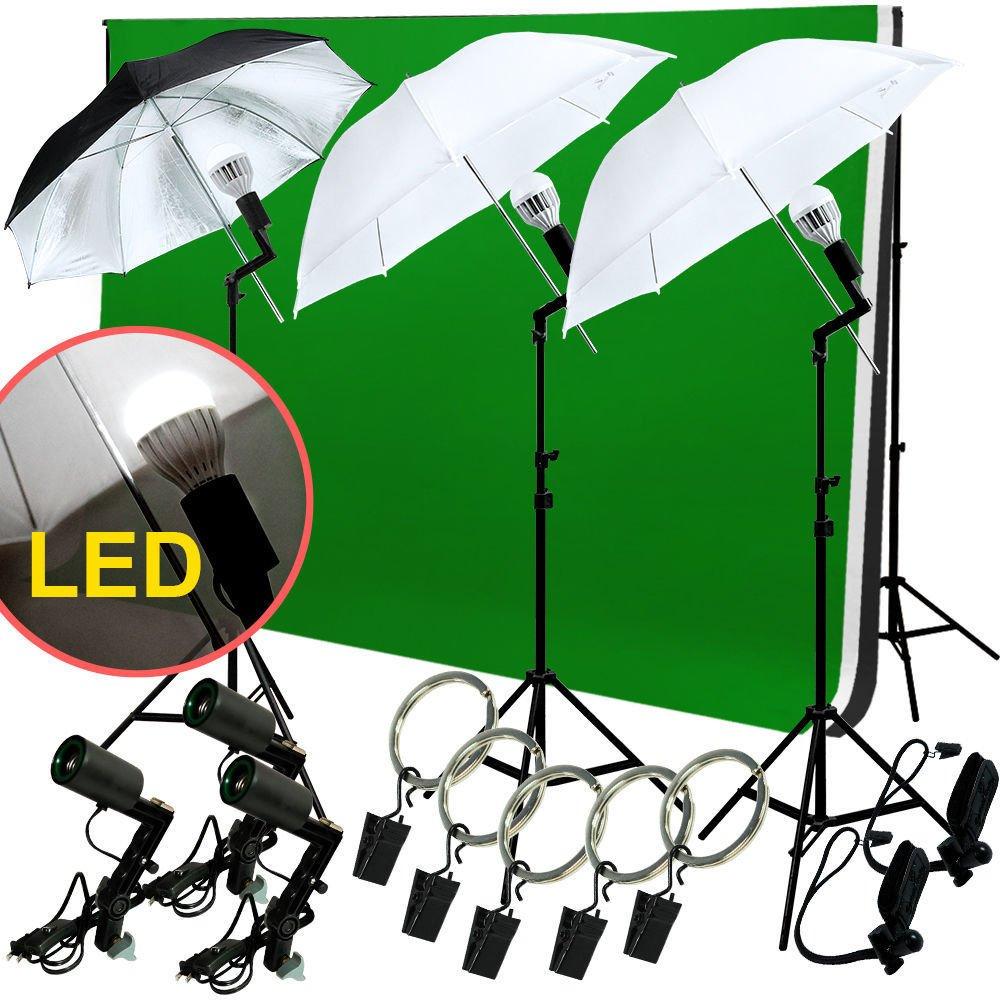 LED Photo Studio Lighting Photography 3 Backdrop stand Muslin Light Kit Umbrella by Gogad