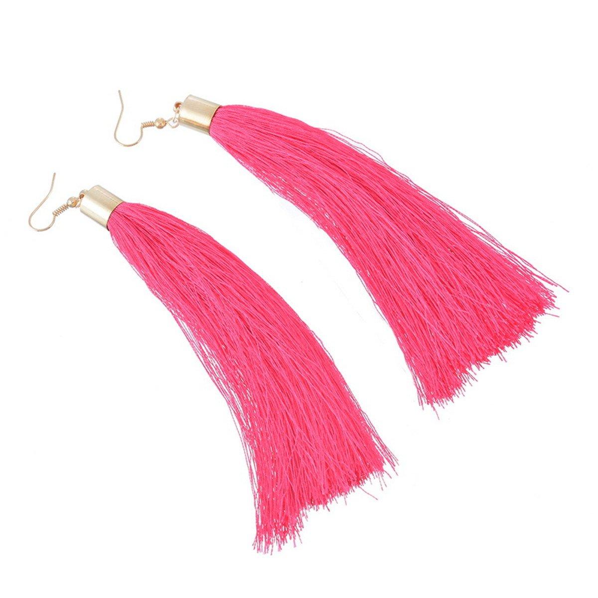 Ear Hooks Retro Ethnic Pink Tassels Dangle Drop Earrings Fashion