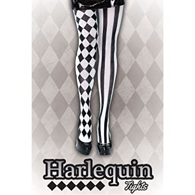 788cf6fa8aa3f Harlequin Tights Black White Jester Clown Stockings Fancy Dress Costume  Legs Harley Quinn: Amazon.co.uk: Clothing