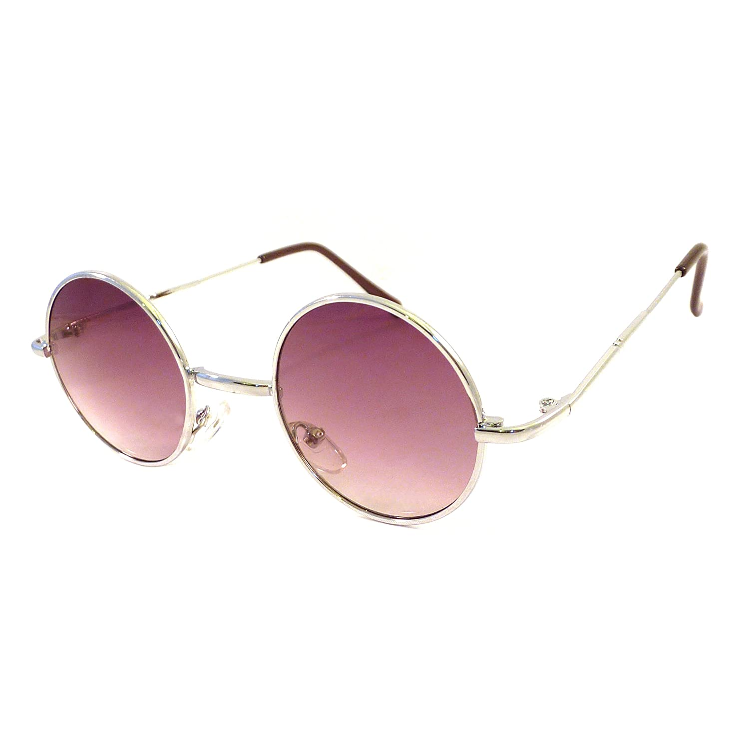 01291ea2f4 Amazon.com  VINTAGE 60s Lennon Style Small Round Metal Shades Sunglasses  SILVER GRADIENT  Clothing