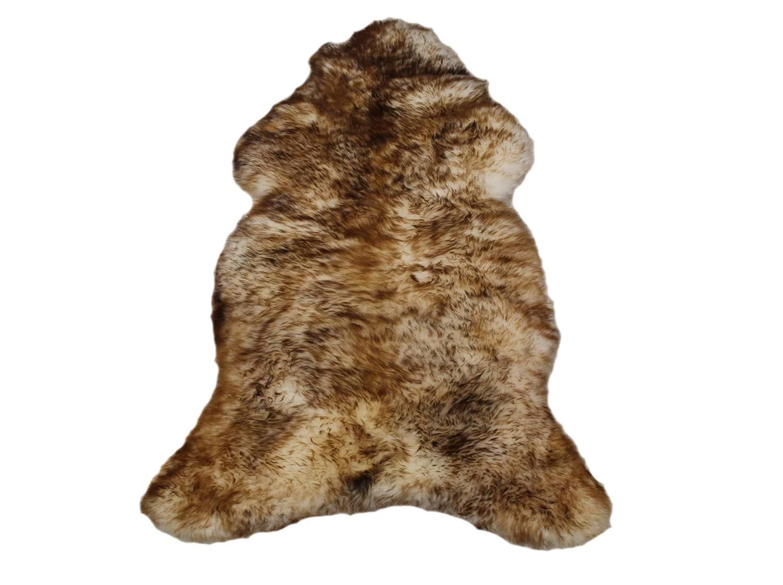 Schaffell Lammfell Fell Teppich Kamin Dekoration Läufer Naturfell Öko gegerbt (120-130 cm, Weiß Braun)