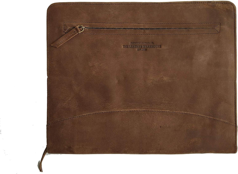 THE LEATHER WAREHOUSE Handmade Office Folder Multipurpose Cow Leather Padfolio/Resume Portfolio Folder - Interview/Legal Document Organizer & Business Card Holder (Coffee Brown)