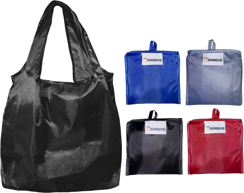 Erreke - Bolsas Reutilizables para la Compra. Plegables. Ecológicas. Polyester Muy Resistente. Alta Capacidad de Carga, Ligeras, higiénicas y Elegantes. Pack de 4 Bolsas. 35x58x8cm. Color Variado.