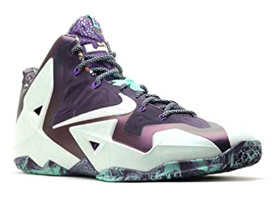 newest 8bad0 1e8fb Nike Lebron XI All Star Men Sneakers Cashmere Purple Dynasty Green Glow  647780-