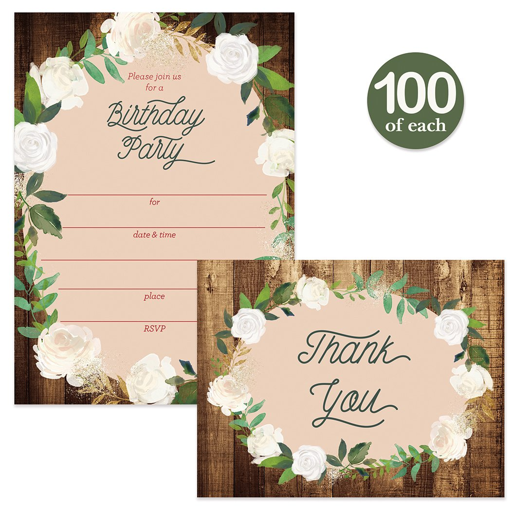 Birthday Invitations Matching Thank You Notes 100 Of Each Envelopes Included Large Gathering Event Country Design Fill In Invites Folded
