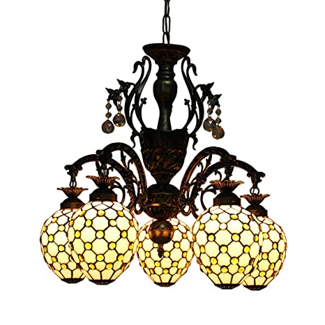 Makenier Vintage Tiffany Style Stained Glass 5 Light Yellow