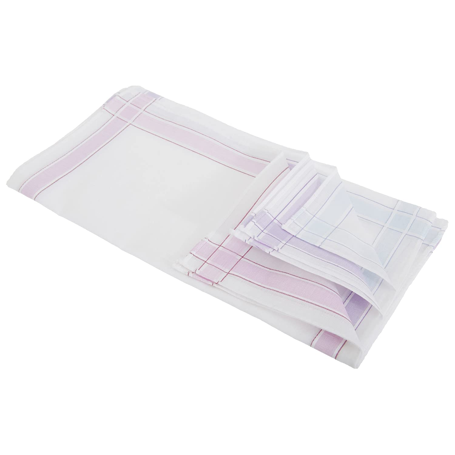 Womens/Ladies 100% Cotton Handkerchiefs With Colour Stripe Border (Pack Of 6) (One Size) (White/Purple/Lilac/Blue) Universal Textiles UTHAND108_1