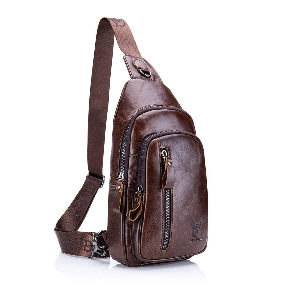 Sling Bag Mens Genuine Leather ELASZ Cross Body Bag Chest Bag Shoulder Backpack for Men