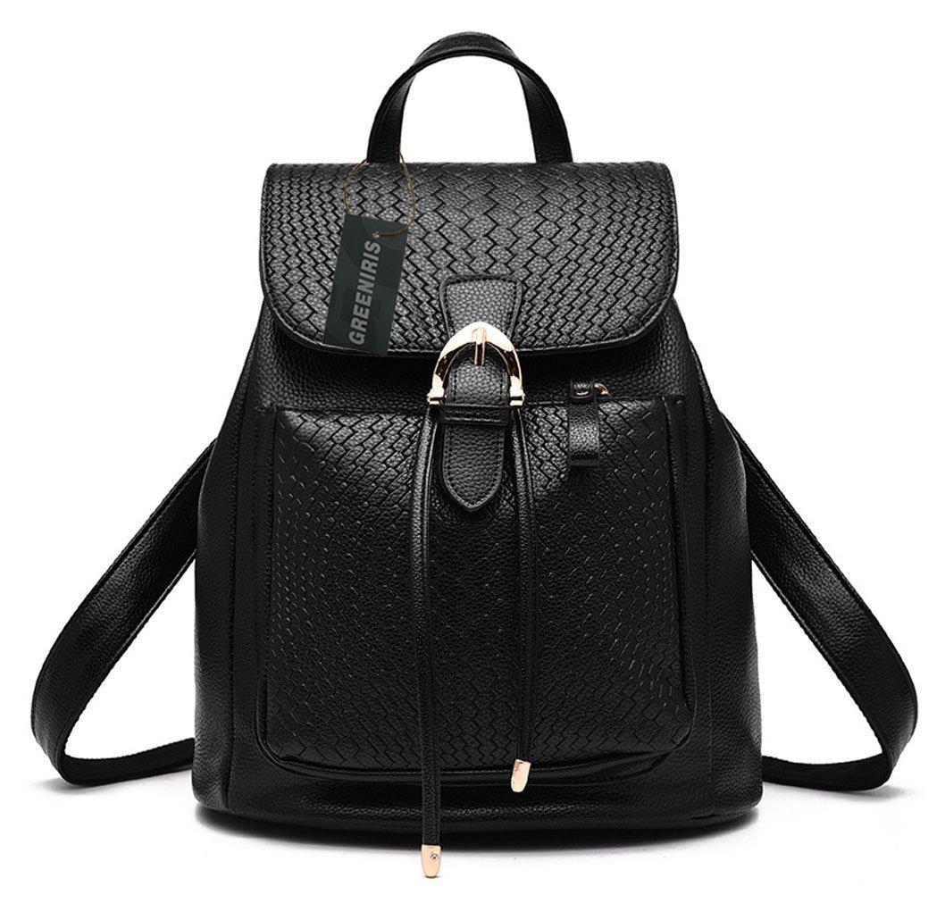 Greeniris Ladies Fashion Rucksack Faux Leather Backpack for Women/Teenage Girls Black