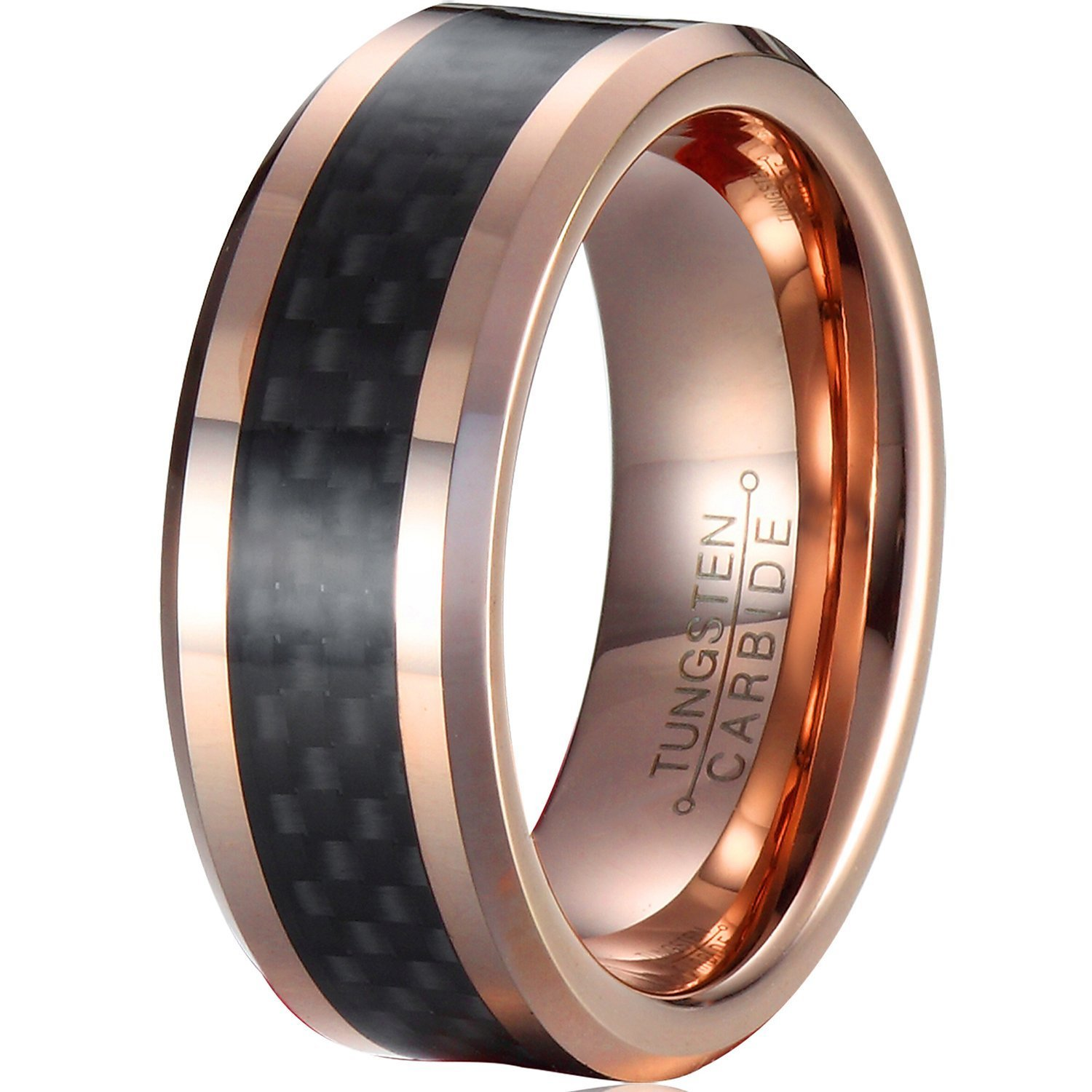 Tungsten Wedding Band for Men 8mm Rose Gold Plated Black Carbon Fiber Inlay Beveled Edge -Kiss me (5)