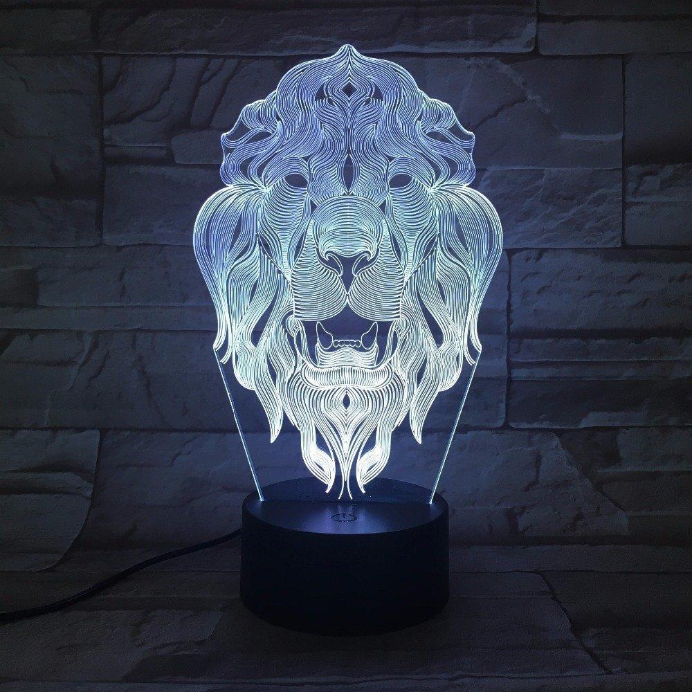 3D Der K/önig der l/öwen Optische Illusions-Lampen Tolle 7 Farbwechsel Acryl ber/ühren Tabelle Schreibtisch-Nachtlicht mit USB-Kabel f/ür Kinder Schlafzimmer Geburtstagsgeschenke Geschenk