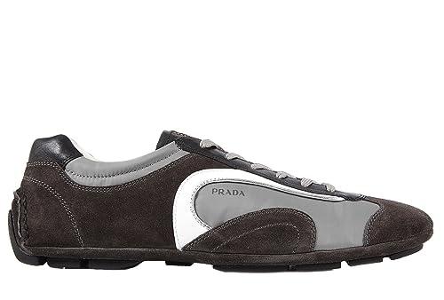 Prada scarpe sneakers uomo camoscio nuove montecarlo grigio  Amazon.it  Scarpe  e borse d74e755fa34