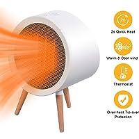 URAQT Portátil Calefactor Eléctrico, 800W Calefactor cerámico Redondo