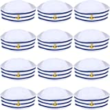 12 Pieces Blue with White Sail Hats Navy Sailor Hat for Costume Accessory, Dressing up Party