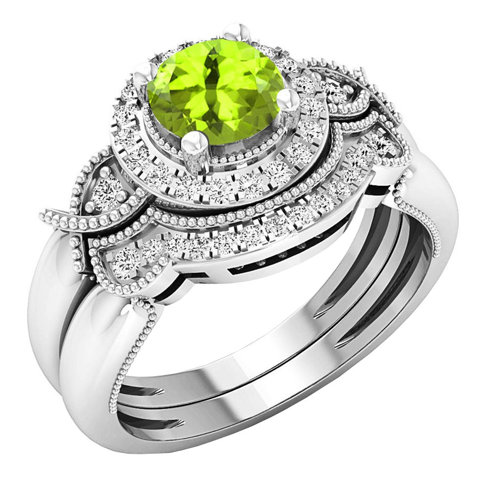 Dazzlingrock Collection 10K 6 MM Round Peridot & White Diamond Ladies Halo Engagement Ring Set, White Gold, Size 8 by Dazzlingrock Collection (Image #1)