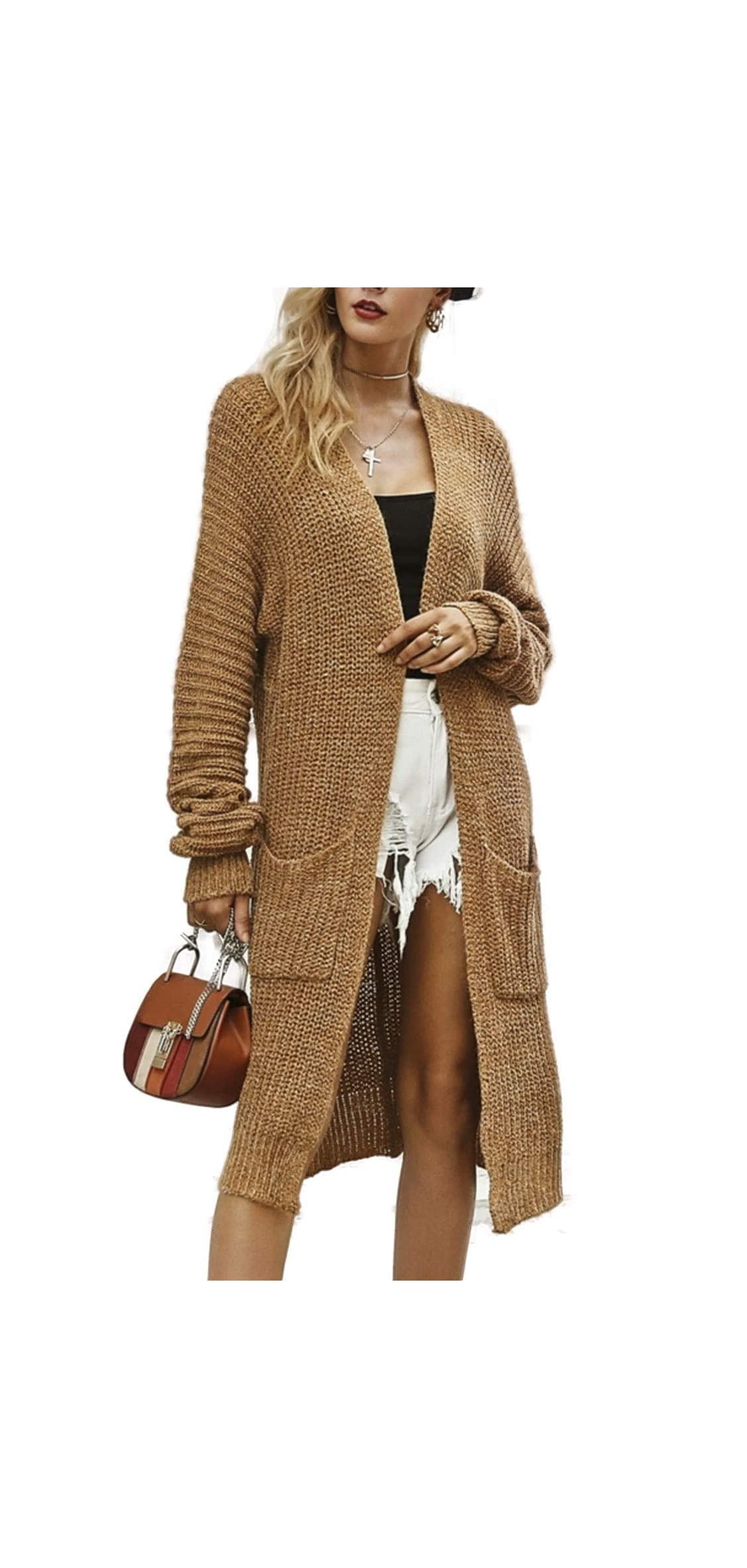 Simplee Women's Casual Open Front Long Sleeve Knit Cardigan Coat