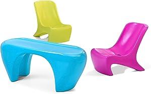 Step2 Junior Chic 3Piece Furniture Set   Kids Plastic Play Table & Chair Set   Colorful Sleek Modern Design