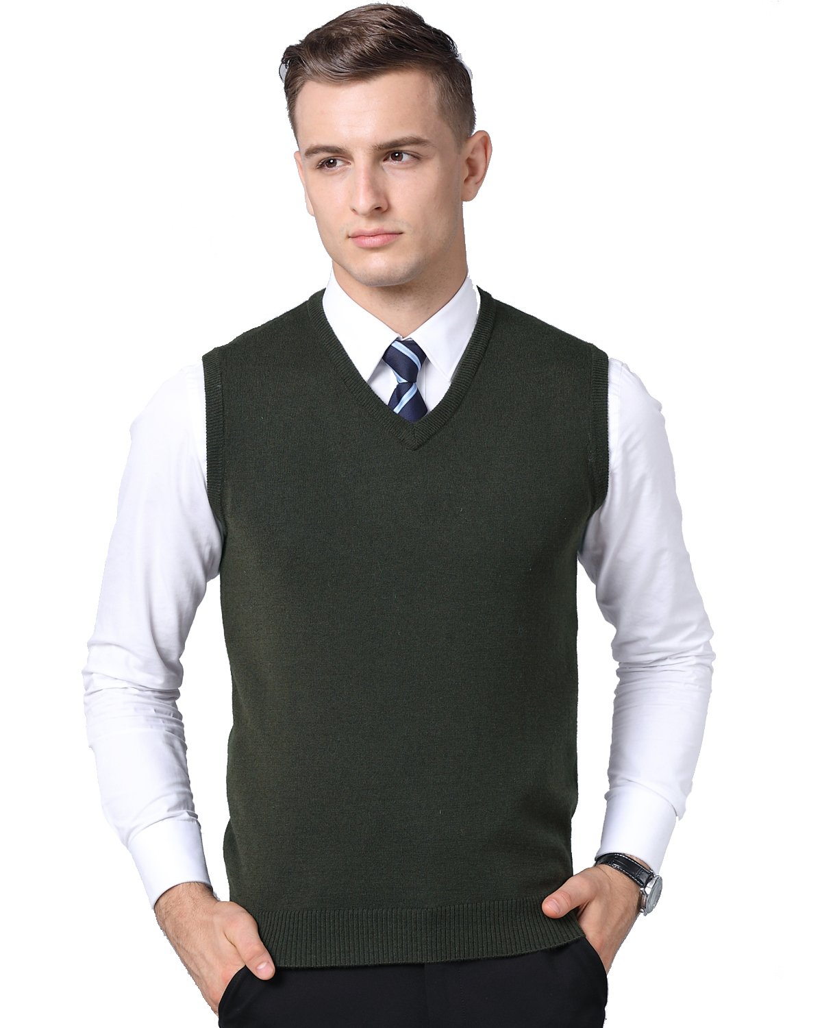 Kinlonsair Mens Casual Slim Fit Solid Lightweight V-Neck Sweater Vest (Large (US), Army Green)