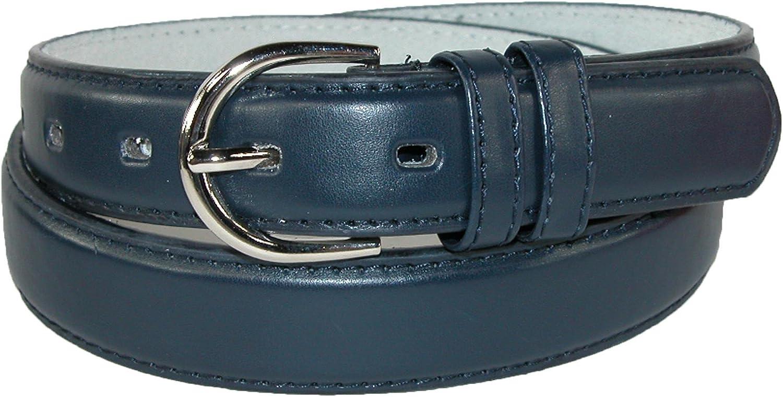 New CTM Women/'s Leather 1 1//8 Inch Metallic Dress Belt