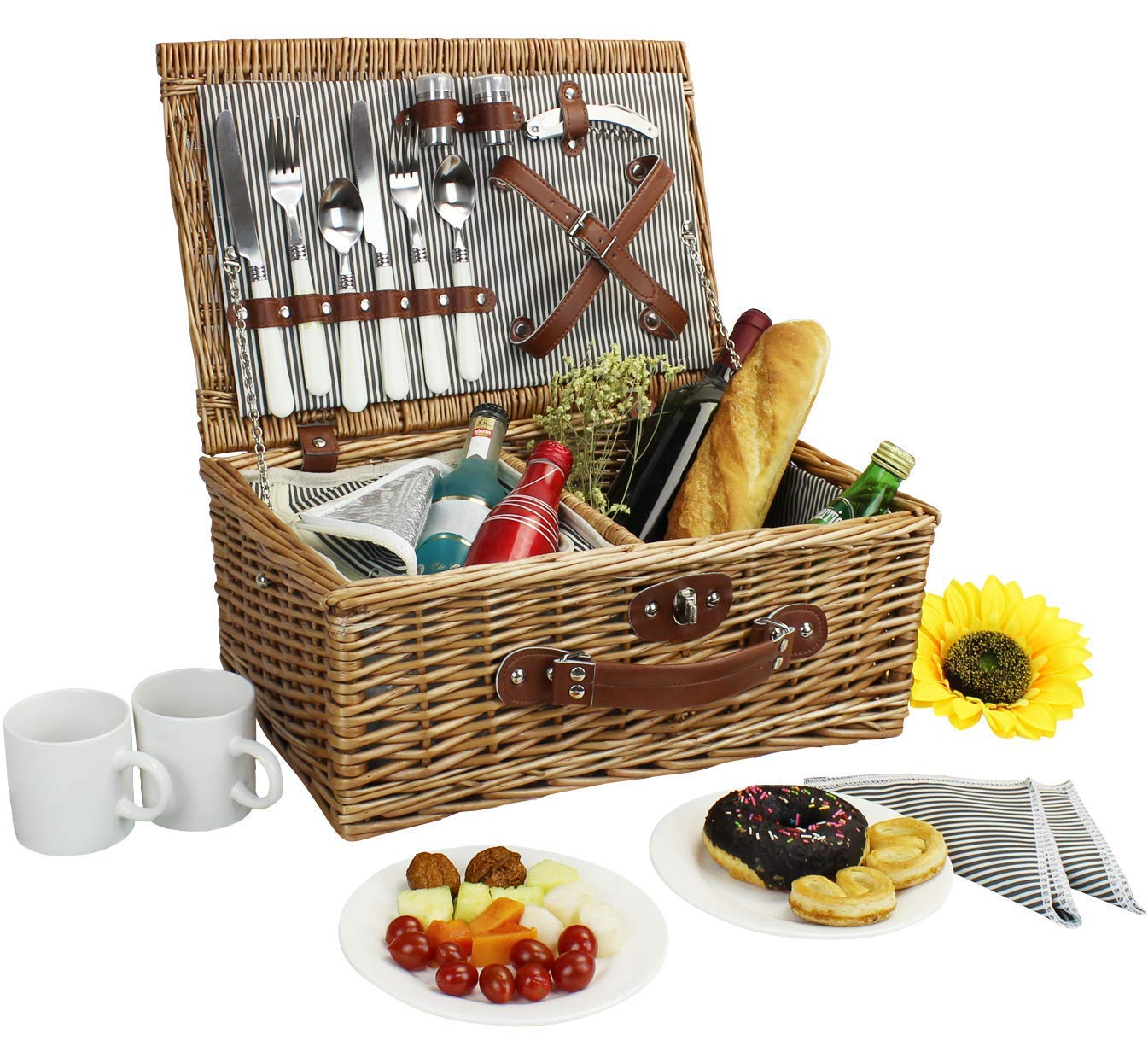 Picnic Basket for 2, Willow Hamper Set with Insulated Compartment, Handmade Large Wicker Picnic Basket Set with Utensils Cutlery - Perfect for Picnicking, Camping, or any Other Outdoor Event by Home Innovation