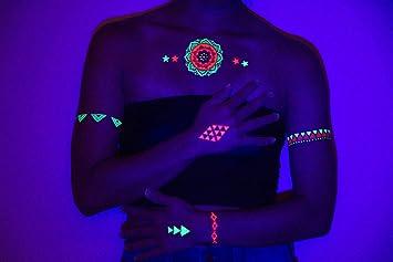 Amazoncom Uv Blacklight Tattoos Glow In The Dark Rave
