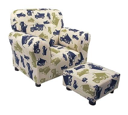 Terrific Amazon Com Brighton Home Kid Chair Ottoman In Dump Truck Andrewgaddart Wooden Chair Designs For Living Room Andrewgaddartcom