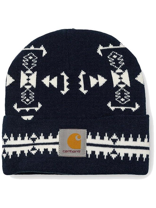 edd8ada3fea90 Carhartt WIP Hats Origin Fragment Beanie Hat - Navy-White 1-Size   Amazon.co.uk  Clothing